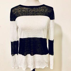 tyler boe Black and white stripe sheet sweater S